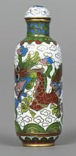 A Chinese cloisonne enamelled snuff bottle and stopper Worked with a dragon chasing a flaming pearl.  6 cm high.