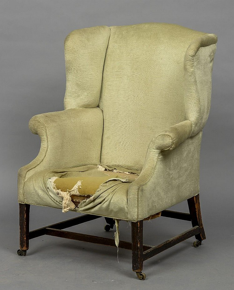 A 19th century mahogany wing back armchair the overstuffed b for Overstuffed armchair
