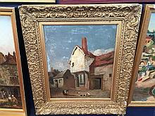 HENRY NINHAM (1793-1874) British Norwich Back Street Oil on board 24.5 x 29