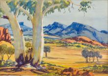 CLAUDE PANNKA (1928-1972) Aborigini Landscape Watercolour, signed, framed a