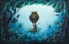 BOURMOND BYRON (1920-2004) Haitian (JACMEL) Owl in Fantastical Landscape Ac