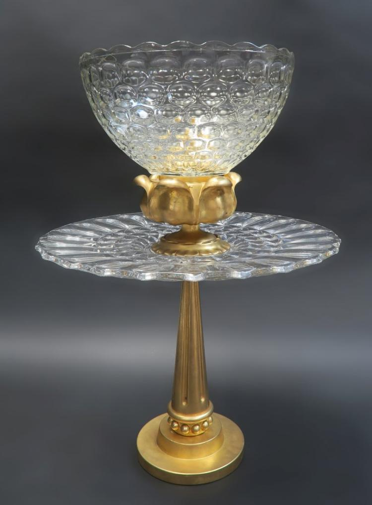Large french quot art deco gold plated bronze centerpiece