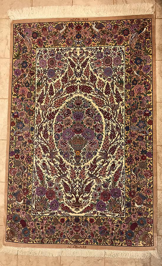 Persian Qom Rug. 66X43