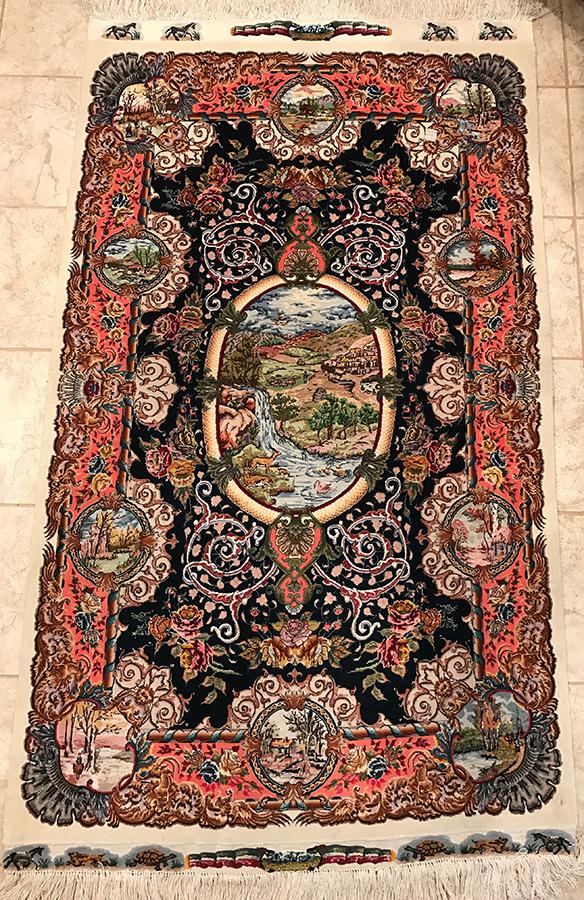 Persian Tabriz Rug. 65X39