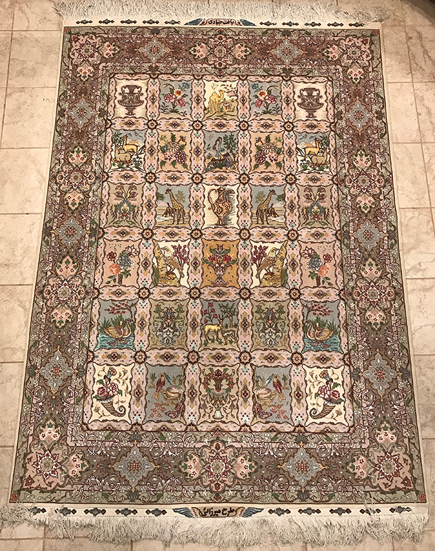 Persian Tabriz Khashti Silk Highlight Rug