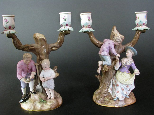 Pair of Meissen Figural Group Candelabras