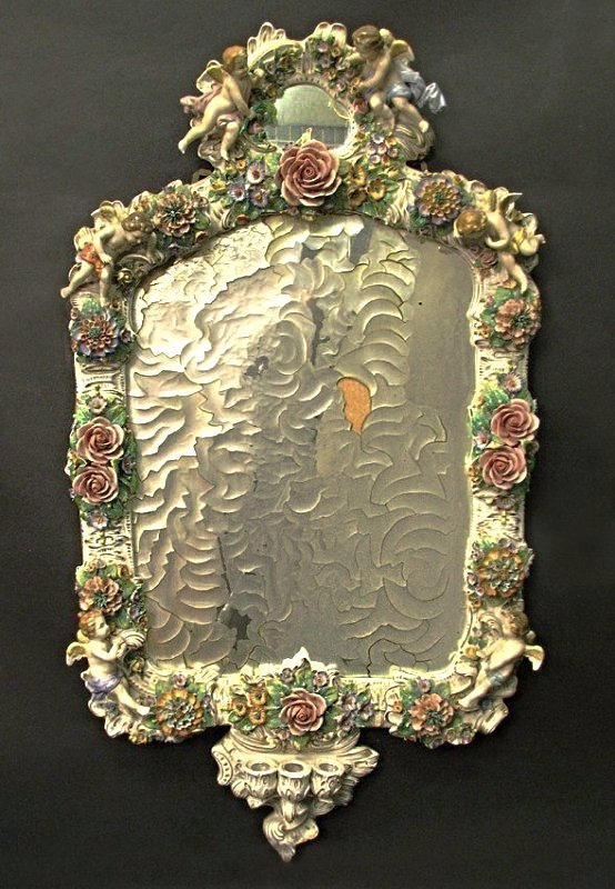 Magnificent 19th C. Meissen Style Floral Figural Mirror
