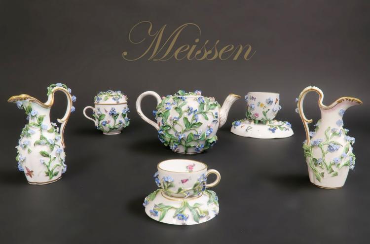 Meissen Porcelain Forget Me Not Tea Set