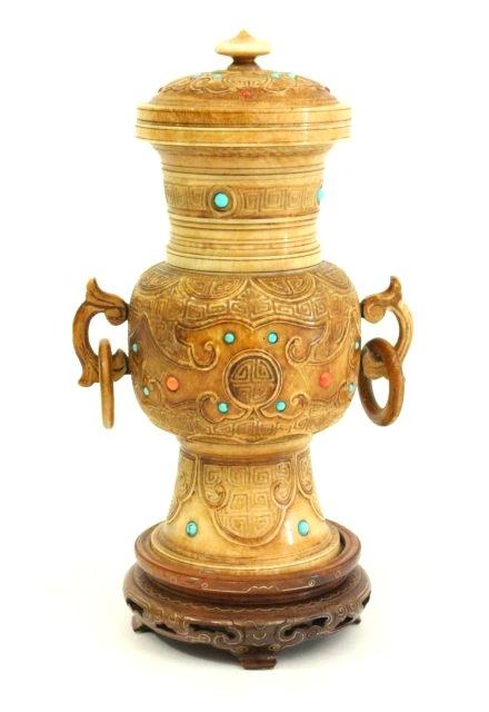 Semi-Precious Jewelled Chinese Covered Urn