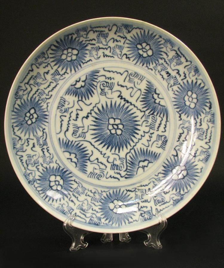 Antique Blue And White Chinese Plate
