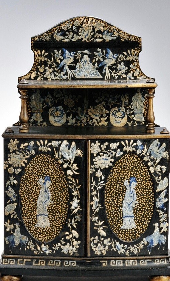Chinoiserie Decorated Black Lacquer Miniature Cabinet