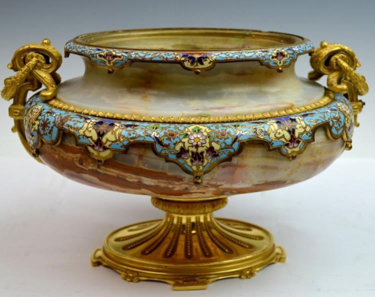 19th C. French Champleve Enamel and Marble Centerpiece