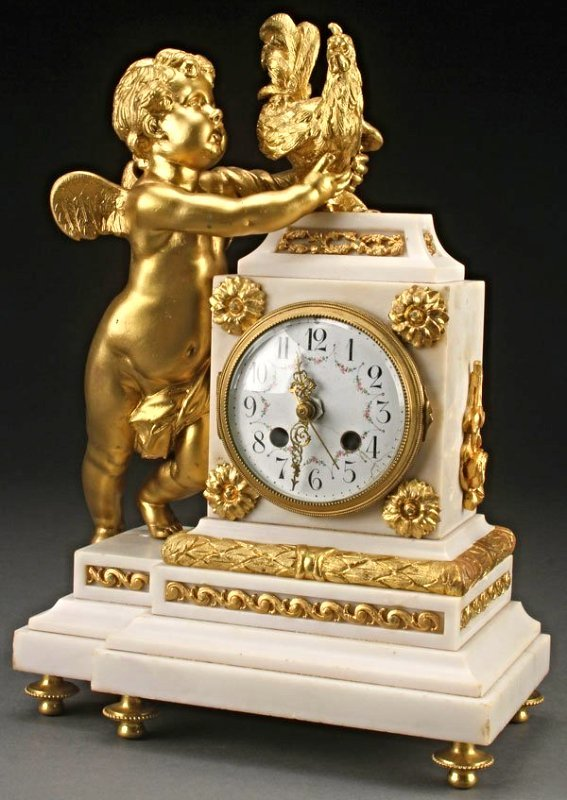 19th C. Figural Bronze and Marble Mantle Clock