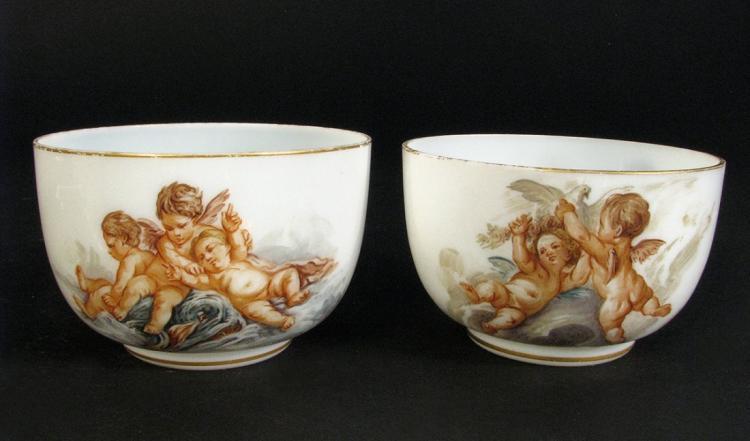 Fine Pair Baccarat Fiery Opalescent Bowls w/Cherubs Art