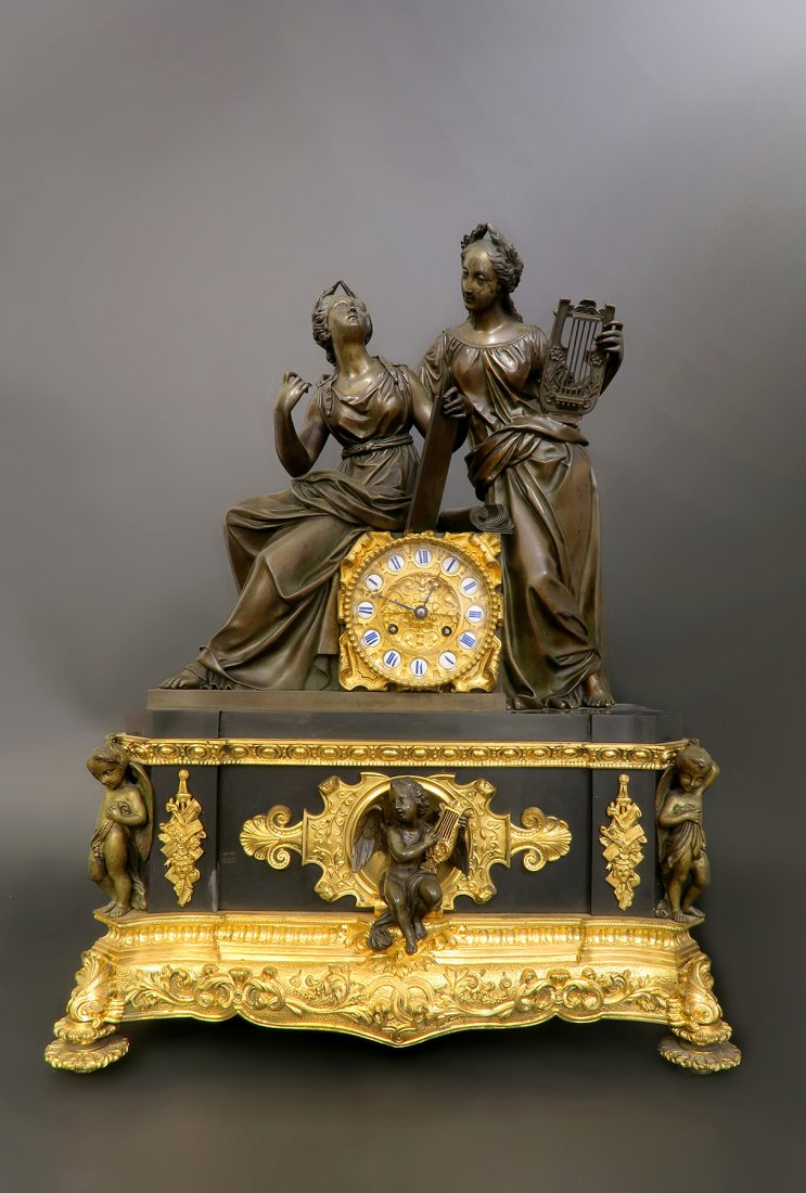 Monumental 19th C. French Empire Bronze Figural Clock Edit