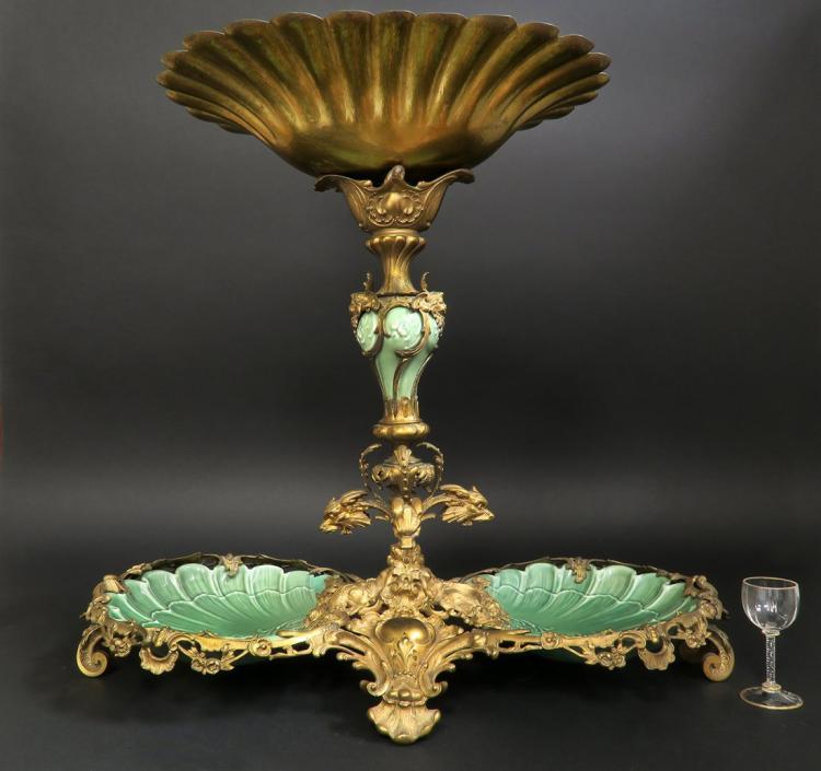 Monumental Dirk Van Erp Bronze & Porcelain Centerpiece Edit