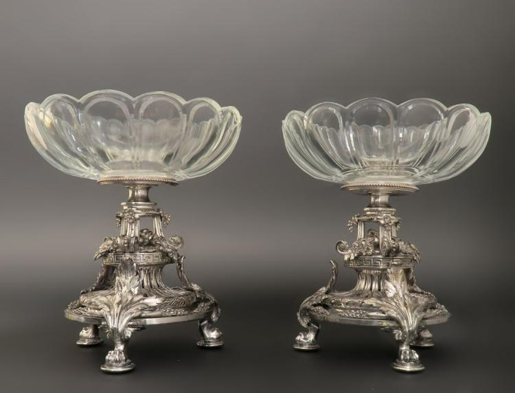 Pair of Christofle Tazze/Compotes Baccarat Crystal Edit