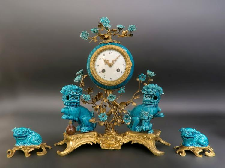19th. C. French Porcelain Chinoiserie Clock Set Edit