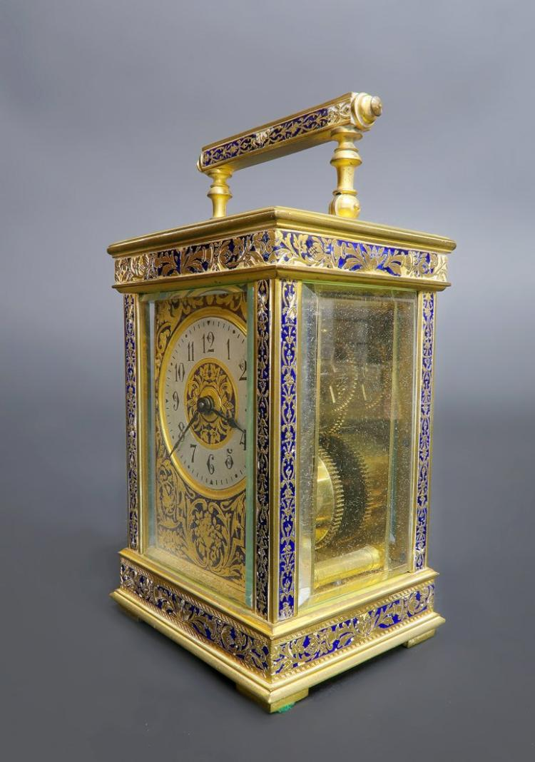 19th C. French Bronze & Champleve Enamel Travel Clock Edit