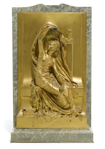French Gilt Bronze Relief Plaque: La Pensée H. Chapu Edit