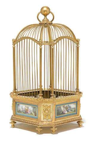 19th C. Sevres Porcelain Mounted Gilt Bronze Bird Cage Edit