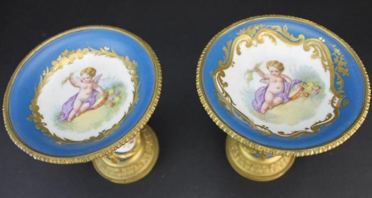 19th C. Pair of Bronze & Sevres Porcelain Compotes Edit