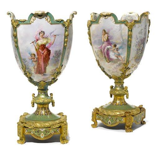 Pair of Monumental Sevres & Champleve Enamel Vases 24'' Edit