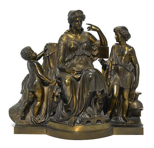 A Large French Patinated Bronze Figural Group Edit