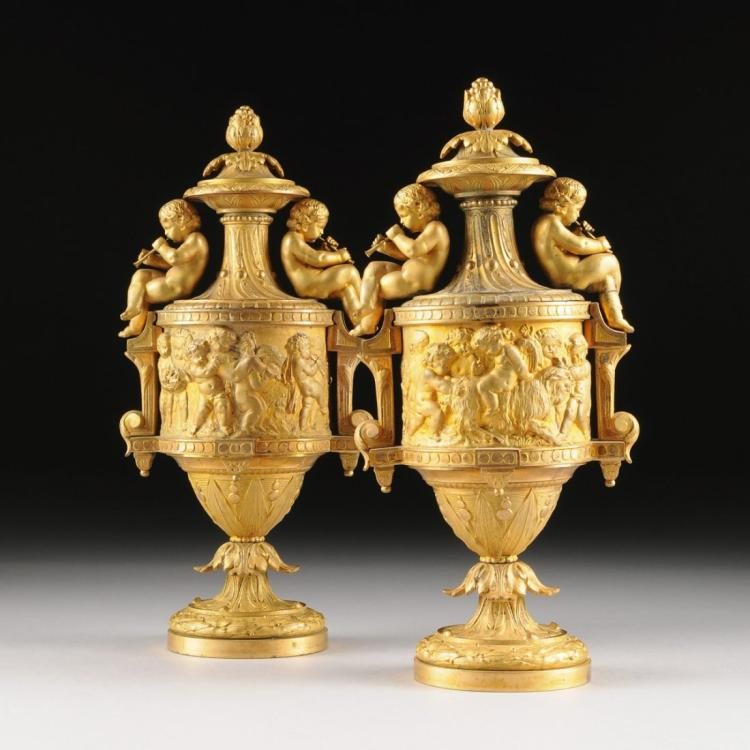 Pair of 19th C Gilt Bronze Figural Covered Urns/Vases Edit