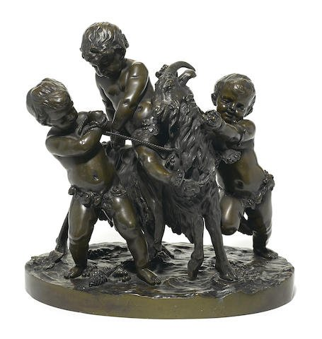 French Patinated Bronze Figural Group of Cherubs/Goat Edit