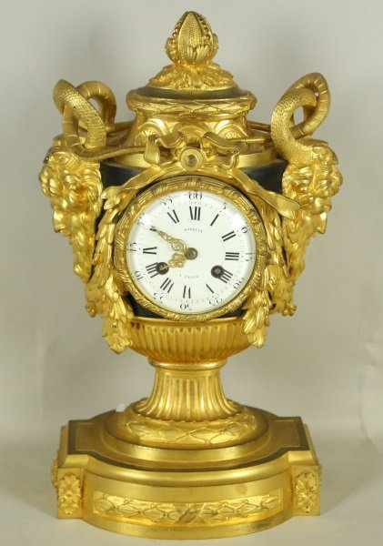 19th C French Gilt Bronze Figural Clock Maison Marquis Edit