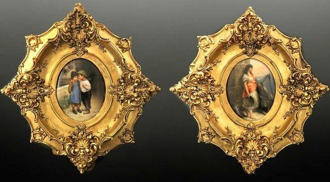 Lot of Two 19th C. Framed Berlin KPM Porcelain Plaques Edit