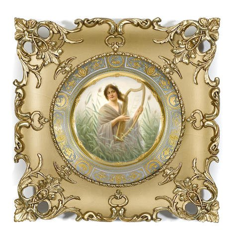 19th C.Hand Painted Royal Vienna Framed Porcelain Plate Edit