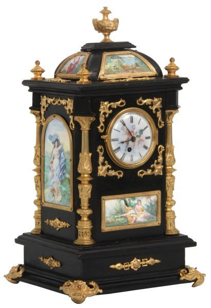 19th C. French Ebonized Desk Clock With Enamel Plaques Edit