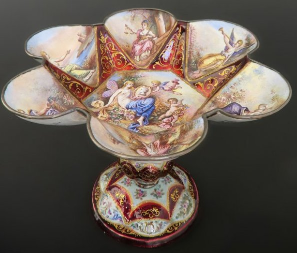 19th C. Viennese Enamel on Silver Centerpiece Edit