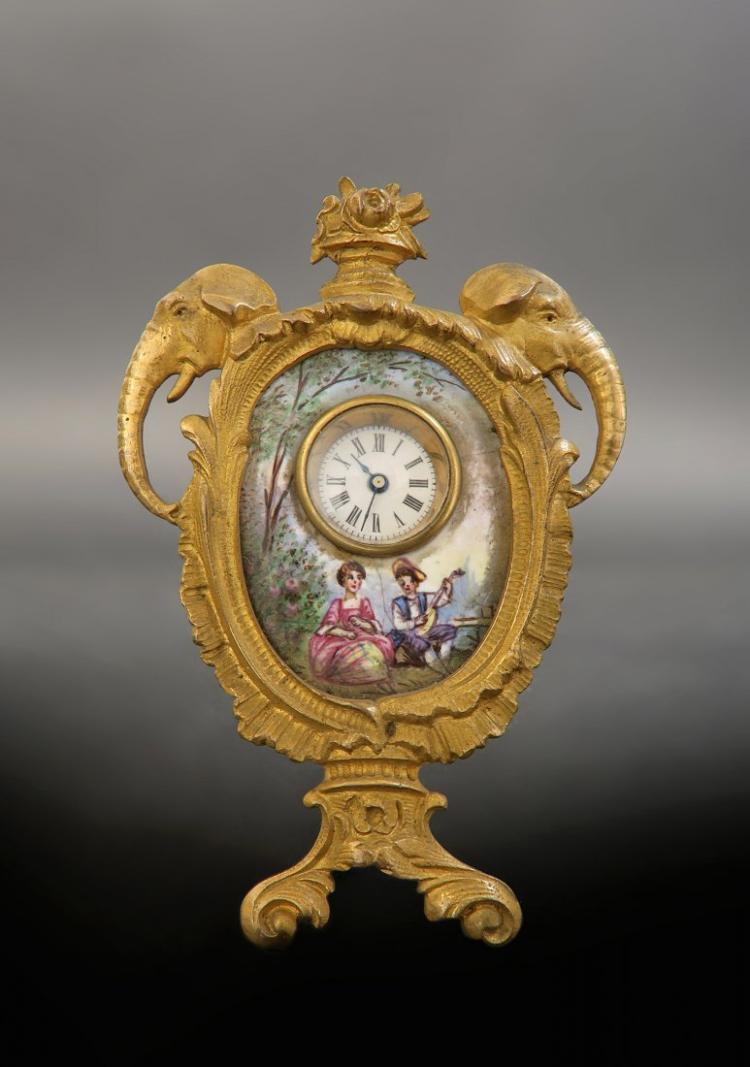 19th Viennese Enamel on Bronze Figural Clock Edit