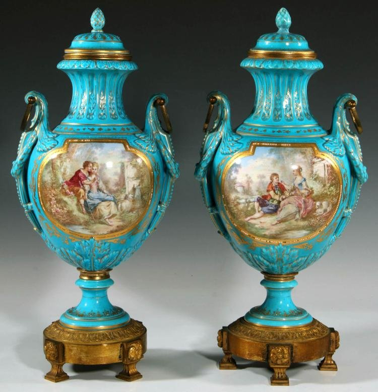 Pair of Turquoise Blue Bronze & Sevres Porcelain Urns Edit