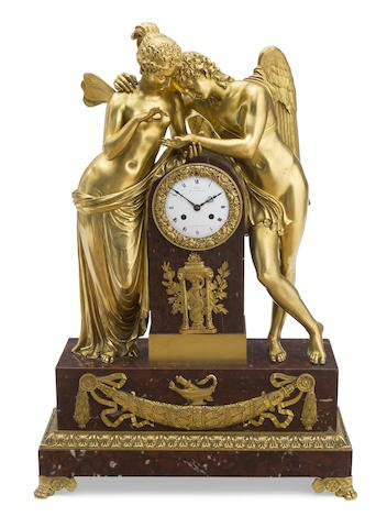 Monumental French Bronze & Rouge Marble Mantle Clock Edit