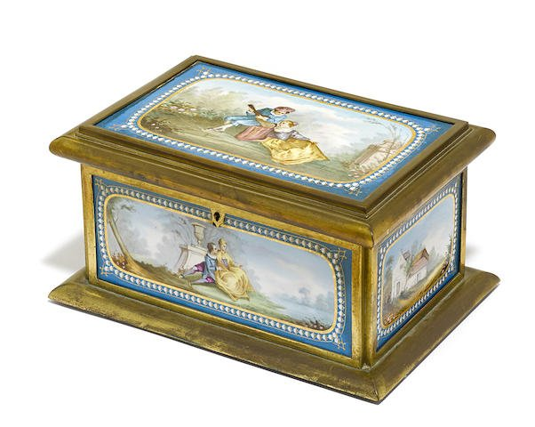 Large 19th C. Gilt Bronze Sevres Porcelain Jewelry Box Edit