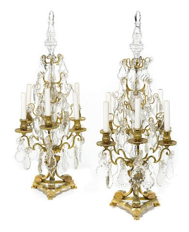 Pair of French Bronze & Baccarat Crystal Girandoles Edit