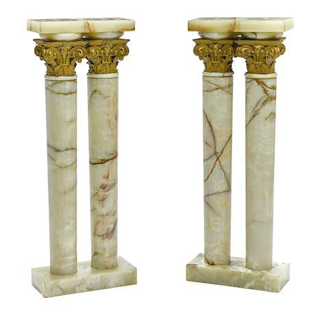 19th C. Pair of Onyx and Giltwood Pedestals Edit