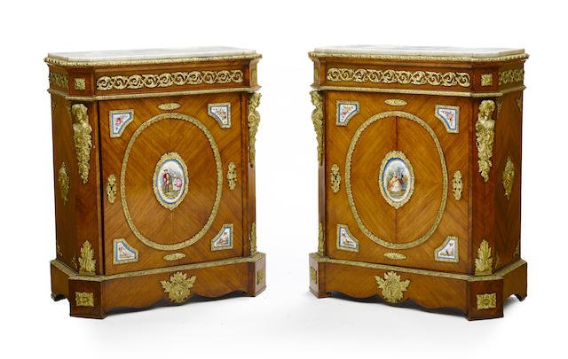 Pair of French Gilt Bronze & Sevres Porcelain Commodes Edit