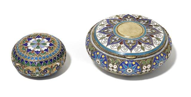 2 Russian Silver and Cloisonné Enamel Circular boxes Edit