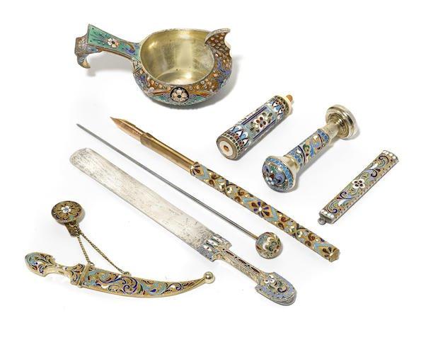 Group of Russian 84 Silver Cloisonné Enamel Accessories Edit
