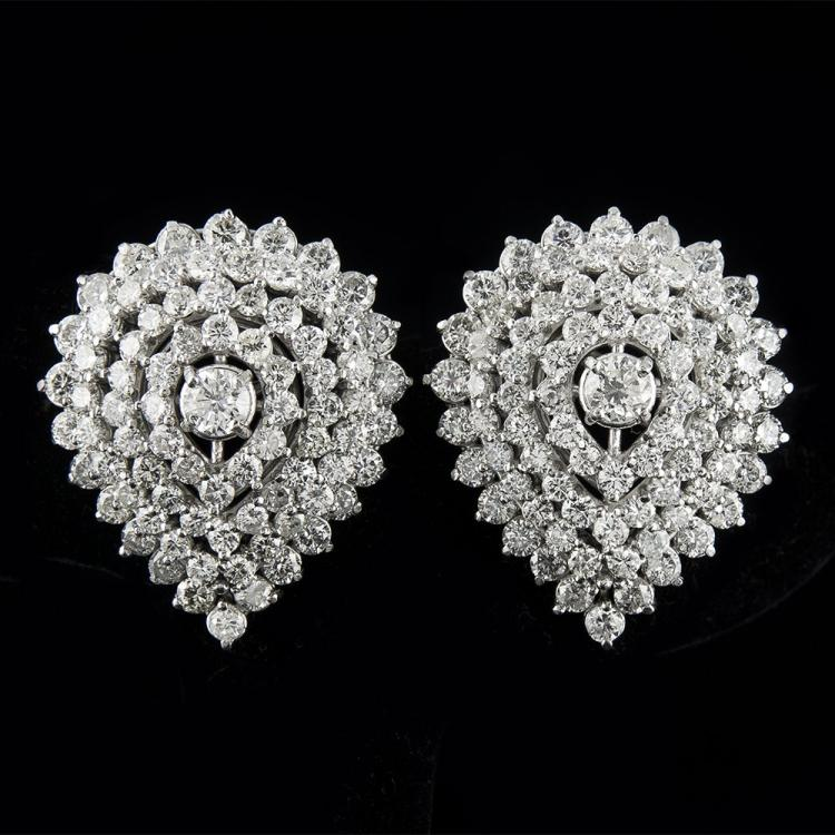 VINTAGE DIAMOND CLUSTER EARRING SET IN PLATINUM Edit