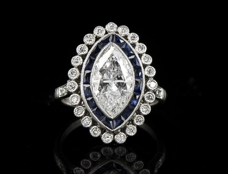 VINTAGE PLATINUM ART DECO DIAMOND & SAPPHIRE RING Edit