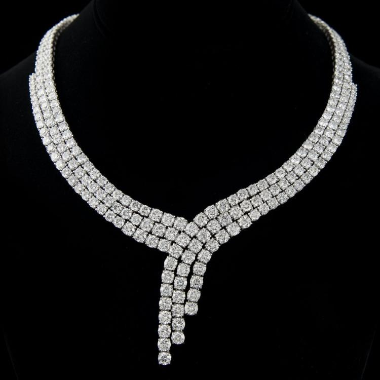 3 ROW DIAMOND NECKLACE SET ON 18K WHITE GOLD Edit