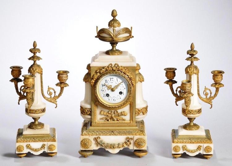 19th C. French Gilt-Bronze 7 Alabaster Clock Garniture Edit