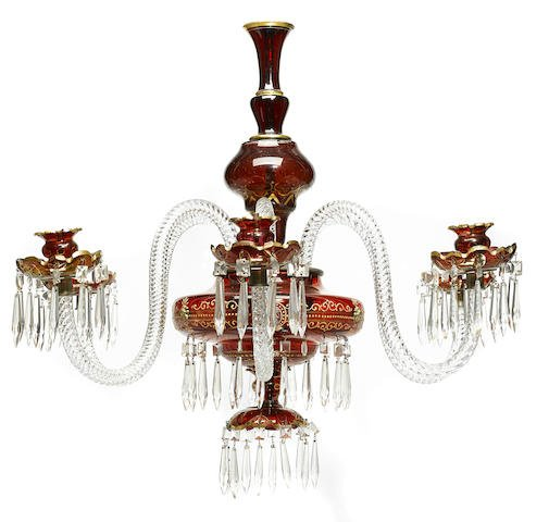 A Bohemian ruby and clear glass six light chandelier Edit