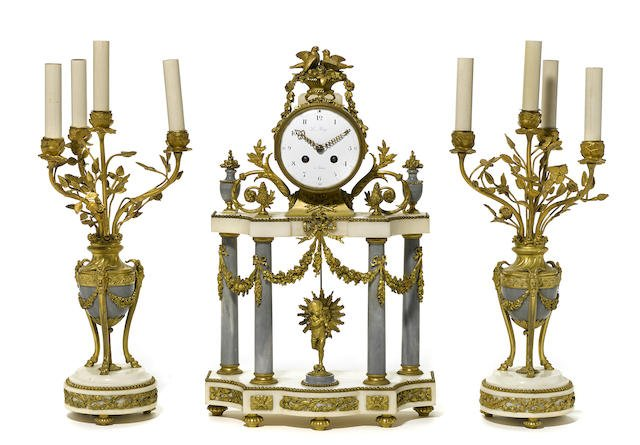 French gilt bronze and marble clock garniture 19TH C. Edit
